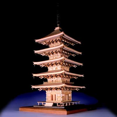【日本製】建築1/75 瑠璃光寺 五重塔【名塔】【ウッディジョーの木製模型】WoodyJOE【代引不可】