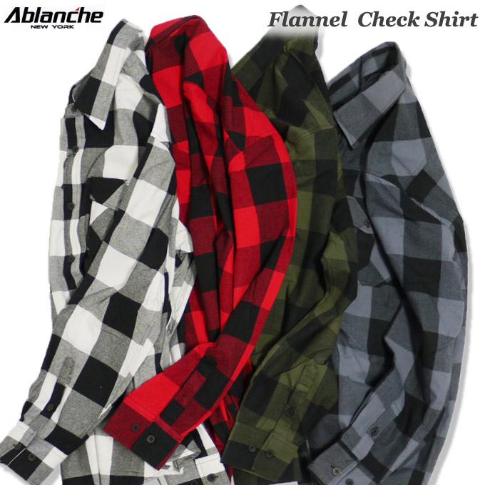 ABLANCHE フランネル チェックシャツ ネルシャツ 長袖 ブロックチェック 大きいサイズ メンズ チェック柄 フラネルシャツ L~3XL L LL 2L 3L 4L 5L ビッグサイズ アメリカン アバランチ US FLANNEL