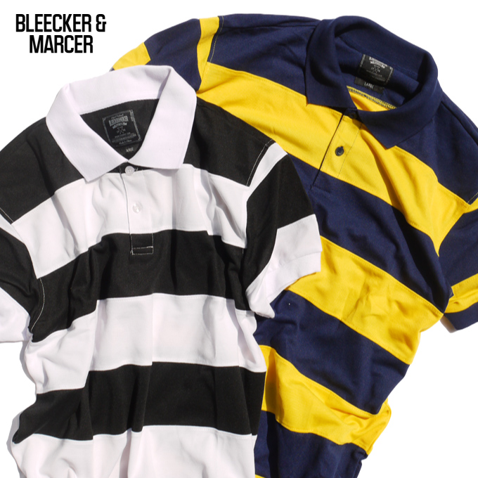 BLEECKER /& MERCER Rugby Striped Poly Polo Navy