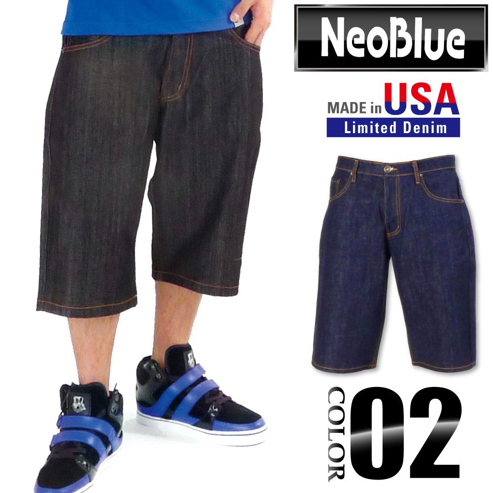 NEO BLUE 데님 반바지 네오 블루 DENIM SHORT PANTS 하프 팬츠 데님 원단 무지 US 사이즈 남성 큰 사이즈 L LL 2L 3L 5L 4L