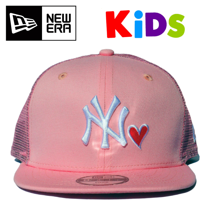 a8a2cf631a1 CRIMINAL  Hat NEW ERA Youth 9FIFTY trucker with heart pink X white ...