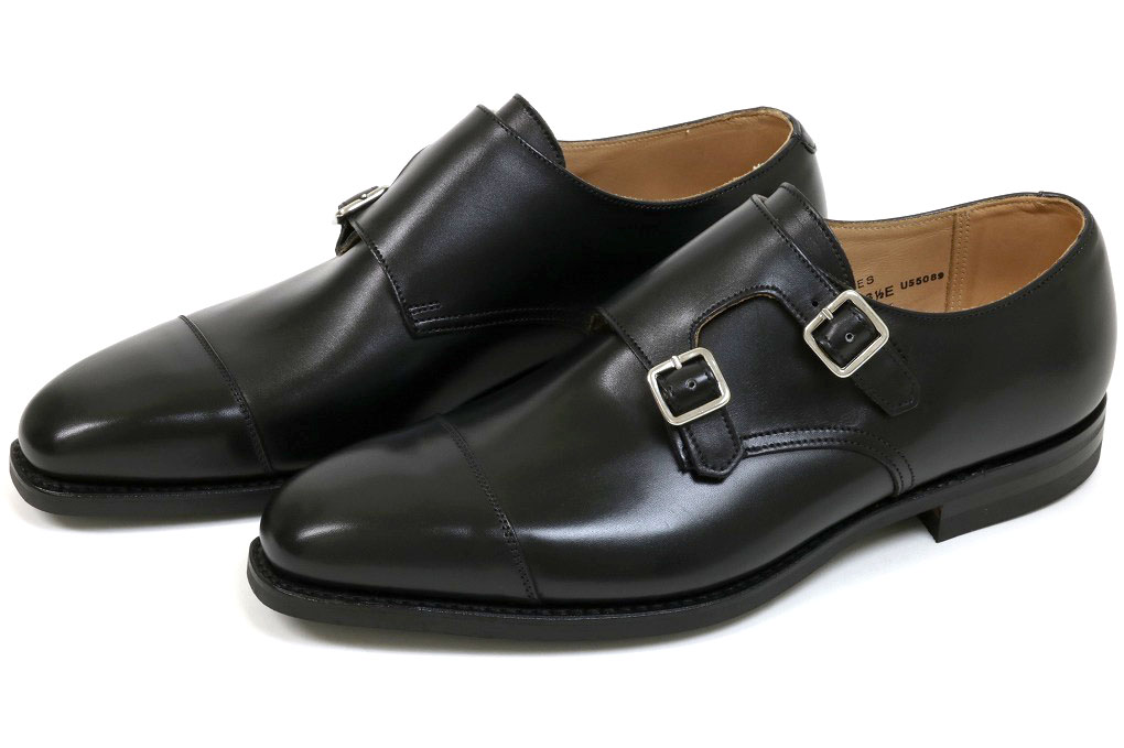 Lowndes Calf Leather Double Monk Shoes With City Soles Black Crockett & Jones jls6GnMW