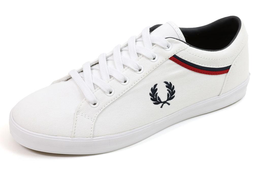 フレッドペリー ベースライン キャンバス ホワイト (FRED PERRY BASELINE CANVAS B8223 100 WHITE)
