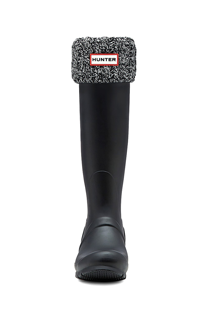 ハンター オリジナル シックス ステッチ ケーブル ブーツソックス ブラック×グレー (HUNTER ORIGINAL 6STITCH CABLE BOOT SOCKS UAS3036AAB BLACK/GREY)