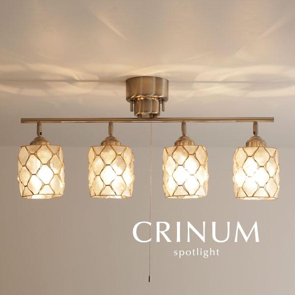 スポットライト カピス貝【CRINUM/ナチュラル】4灯 照明 LED電球 天然素材 シェル ダイニング リビング 多灯 プルスイッチ