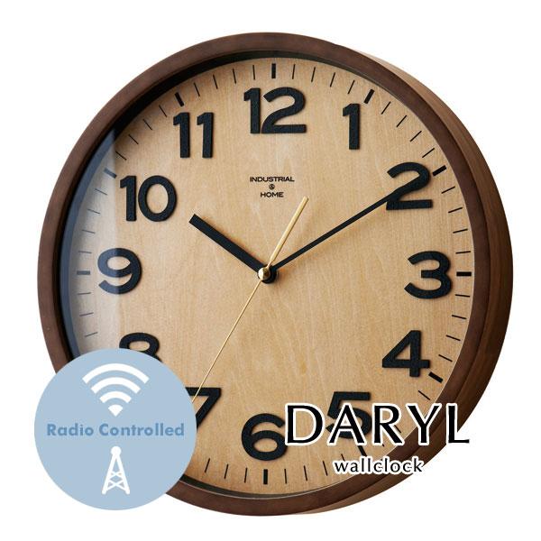 ウォールクロック【DARYL】 電波時計 アンティーク ウッド ガラス レトロ 木目調 とけい 掛け時計 壁掛け
