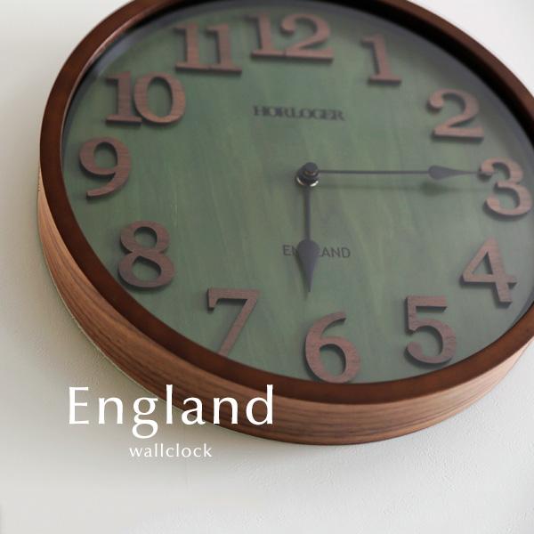 ウォールクロック【England】 電波時計 アンティーク ウッド ガラス レトロ 木目調 とけい 掛け時計 壁掛け 送料無料