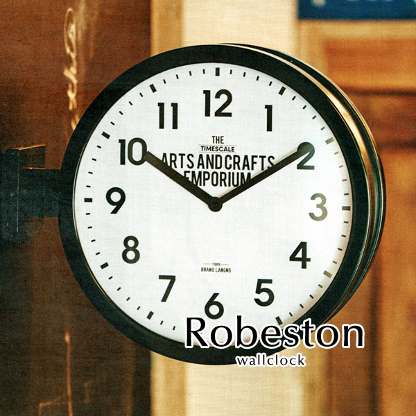 ウォールクロック【Robeston】両面時計 2WAY 西海岸 ビンテージ ガラス アメリカン レトロ 店舗 掛け時計 壁掛け