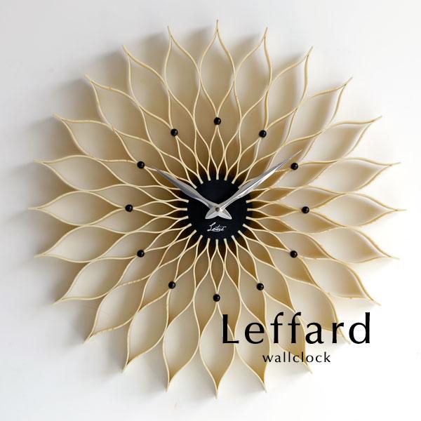ウォールクロック【Leffard/ナチュラル】北欧 ミッドセンチュリー アナログ とけい 掛け時計 壁掛け モダン 軽量 シンプル