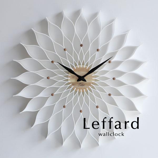 ウォールクロック【Leffard/ホワイト】北欧 ミッドセンチュリー アナログ とけい 掛け時計 壁掛け モダン 軽量 シンプル