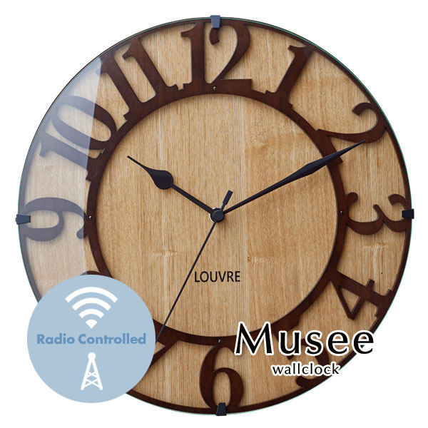 ウォールクロック【Musee】 電波時計 アンティーク ウッド ガラス レトロ 木目調 とけい 掛け時計 壁掛け