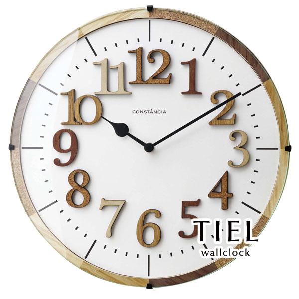 ウォールクロック【TIEL】 電波時計 アンティーク ウッド ガラス レトロ 木製 木目調 アナログ 掛け時計 壁掛け