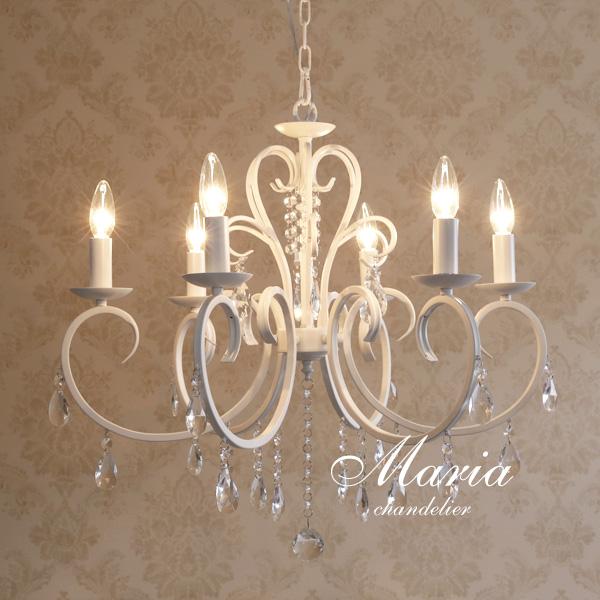 シャンデリア LED【Maria】6灯 ホワイト アンティーク クラシック フレンチ クラシカル シンプル カフェ かわいい 白色 ガラス シャビー