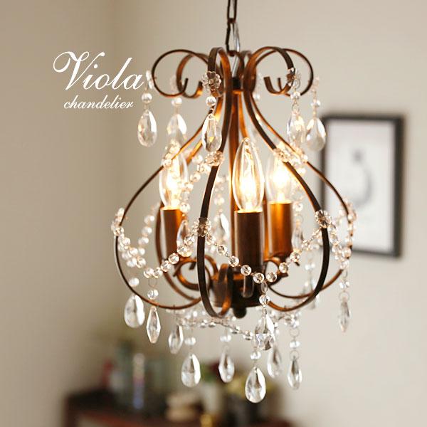 プチシャンデリア LED【Viola/アンティークゴールド】3灯 クラシック アール・ヌーヴォー かわいい フレンチ アイアン ガラス