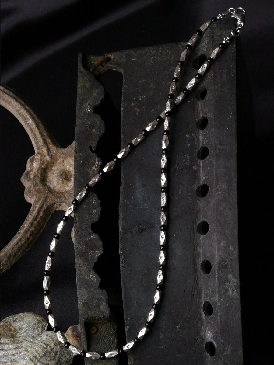 カレン 族 シルバー 漆黒の輝き ブラックオニキス シンプル ネックレス メンズ レディース