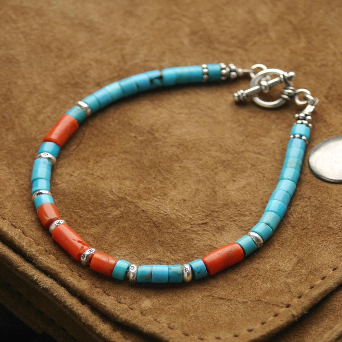 Karen carene silver beads turquoise bracelet anklet / men gap Dis coral  antique beads power stone light blue