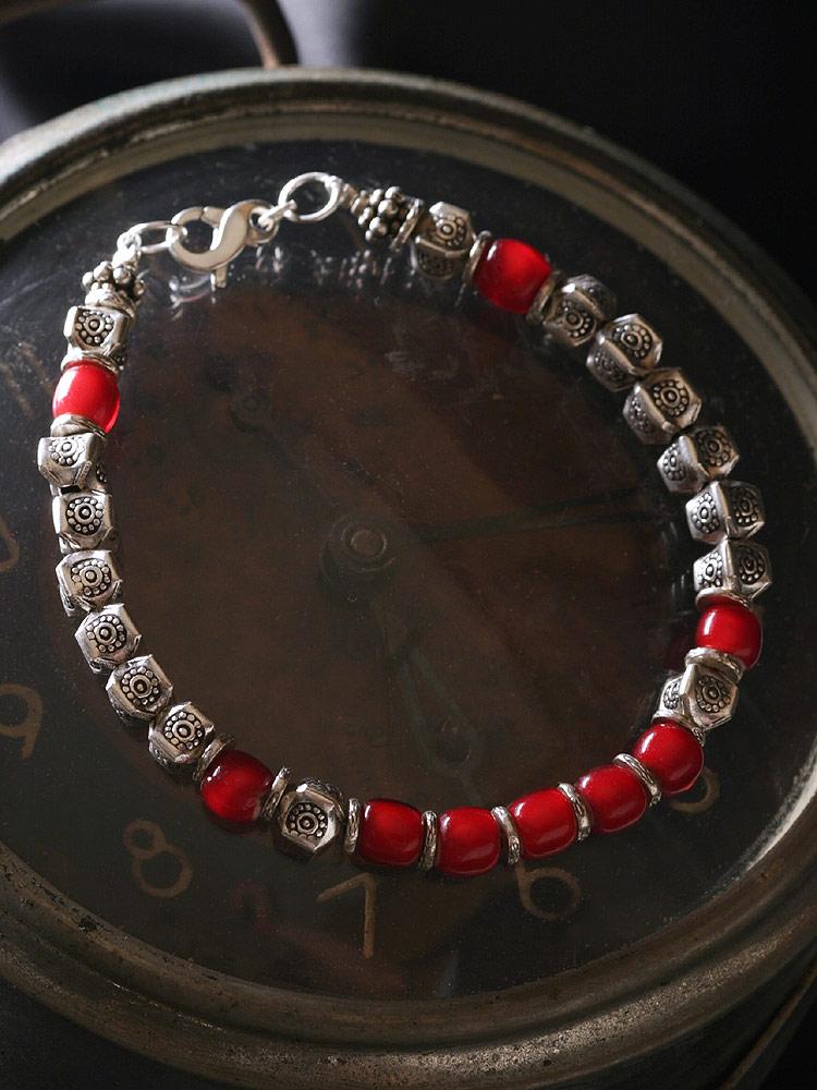 カレン族 カレンシルバー ビーズ ホワイトハート ブレスレット アンクレット / メンズ レディース アンティーク ビーズ 赤