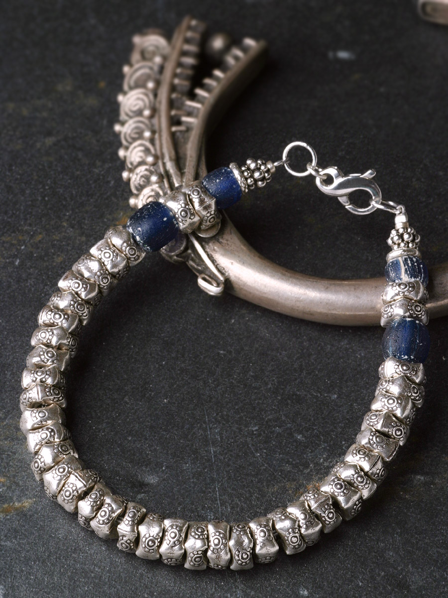 カレン 族 シルバー 1000年以上前 アンティークビーズ 青 ブレスレット アンクレット メンズ レディース