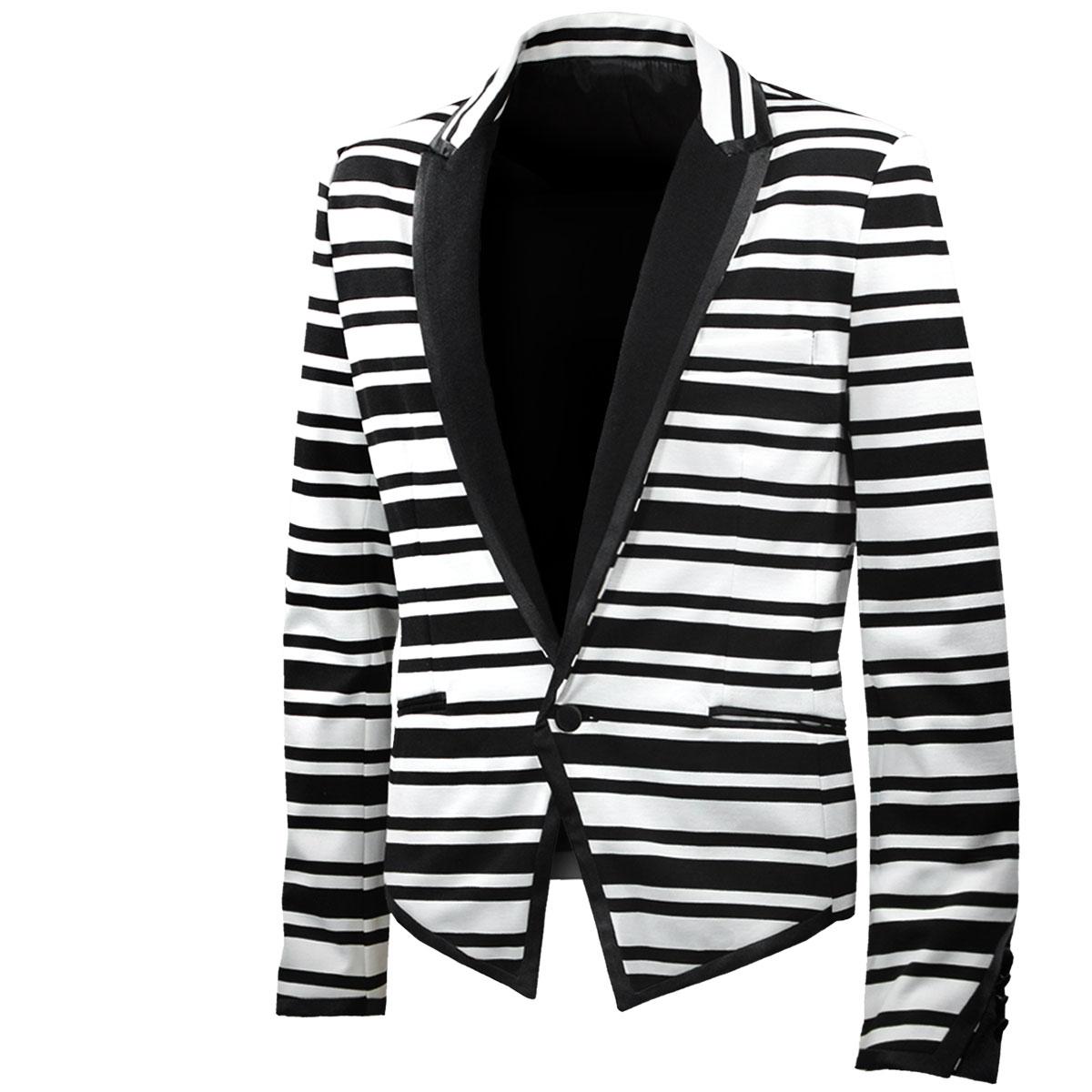 ジャケット テーラード ショート丈 スペンサー ボーダー 1釦 カットジャケット 衣装 イベント メンズ (ブラック黒ホワイト白) 952580