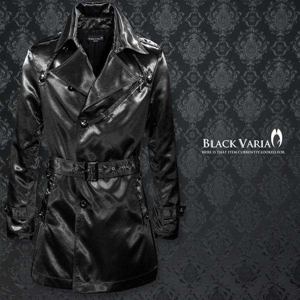 トレンチコート シャンタン 光沢 メタル釦 ハーフ丈 シングルトレンチコート メンズ mens(ブラック黒) 938101