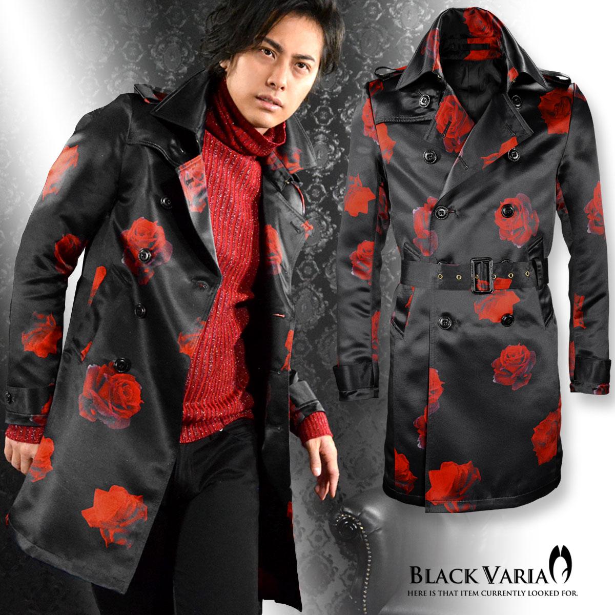 トレンチコート 花柄 バラ柄 薔薇 光沢 ダブル コート メンズ mens(ブラック黒レッド赤) 162205