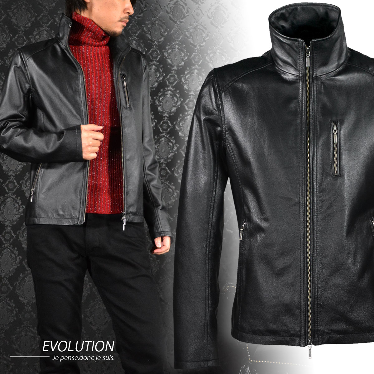 シングルライダース ピッグナッパ革 本革 リアルレザー メンズ ジャケット mens(ブラック黒) 61529