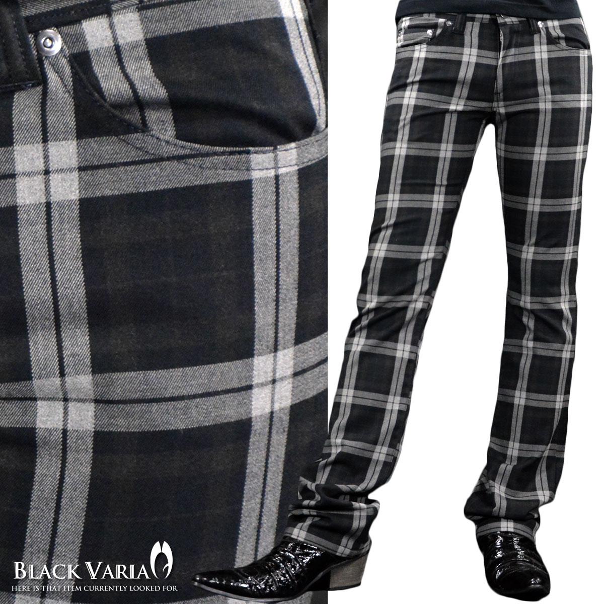 パンツ チェック シューカット 日本製 オーバーチェック メンズ スリム ストレッチ ブーツカット ボトム mens(ブラック黒ホワイト白) 933152