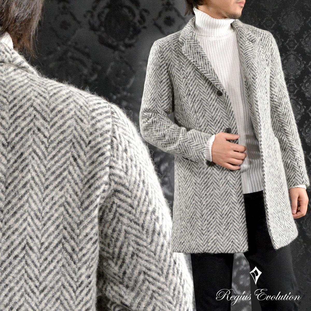 チェスターコート ツイード ヘリンボーン柄 ウール混 ロング コート メンズ mens(グレー灰) 65506