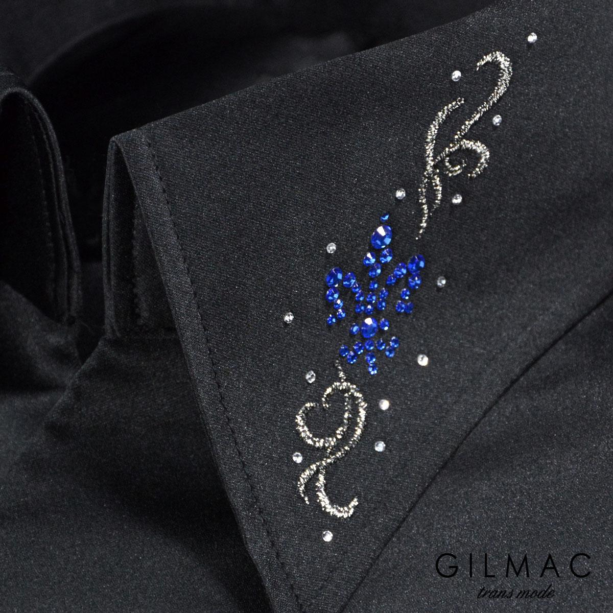 サテンシャツ 無地 日本製 スキッパー イタリアンカラー メンズ 襟 百合の紋章 花 ラインストーン 結婚式 ドレスシャツ mens(ブラック黒) 36743