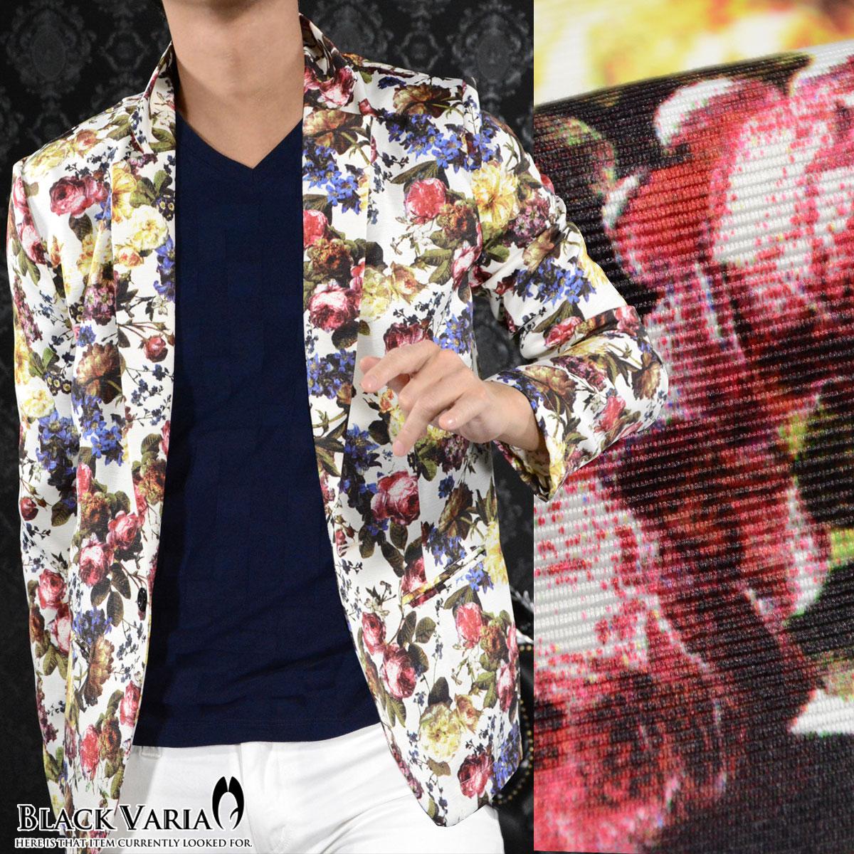 花柄ジャケット テーラード 薔薇柄 メンズ ローズ ボタニカル 1釦 ジャケット mens(ホワイト白レッド赤) 171201