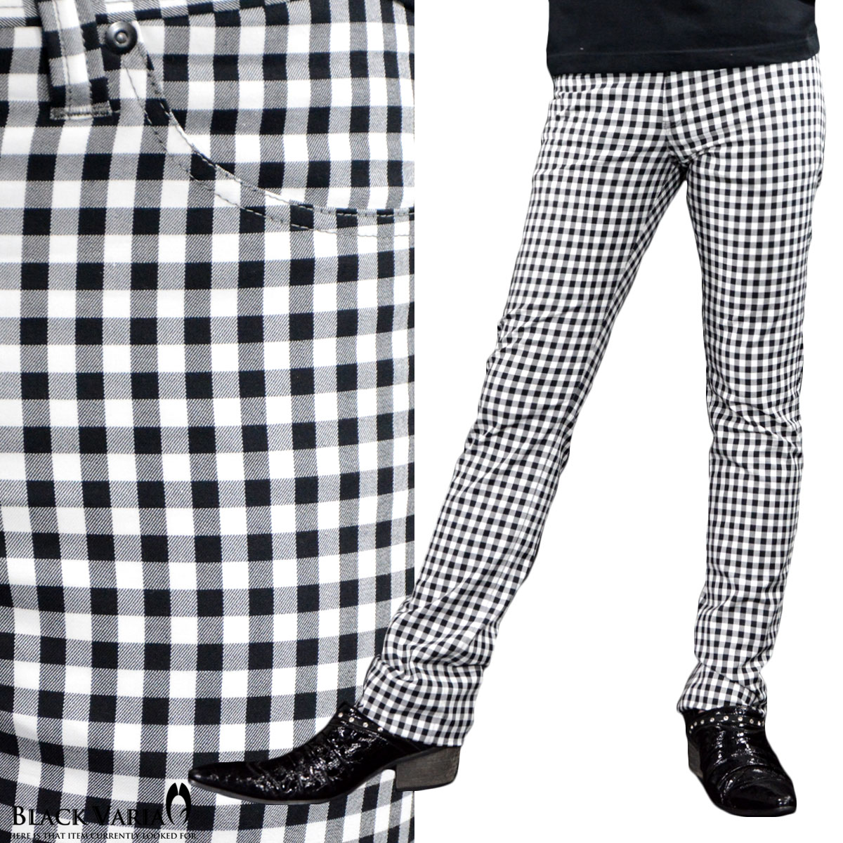 パンツ ギンガムチェック ストレート メンズ 日本製 ストレッチ スリム チェック ボトムス mens(ホワイト白ブラック黒) 933715
