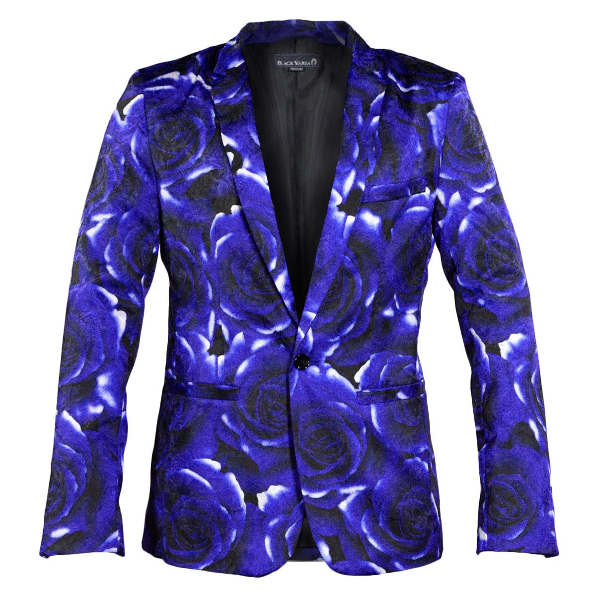 テーラードジャケット 花柄 薔薇 ジャガード メンズ 1釦 サテン 光沢 日本製 総柄 スリム ジャケット mens(ブルー青) 931722