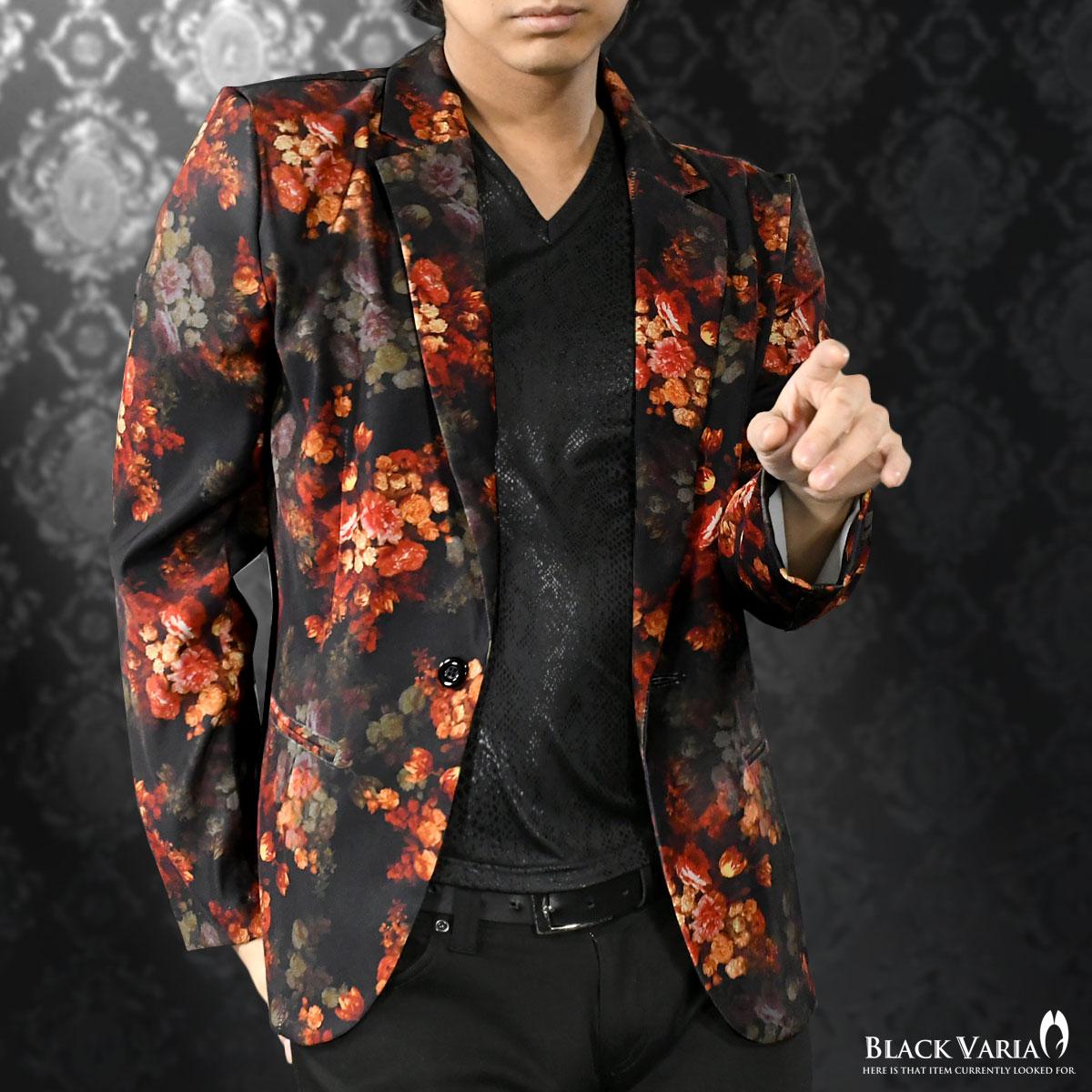 カットジャケット 花柄 薔薇 メンズ 日本製 1釦 ストレッチ 長袖 シングル ジャケット mens(ブラック黒レッド赤) 172750