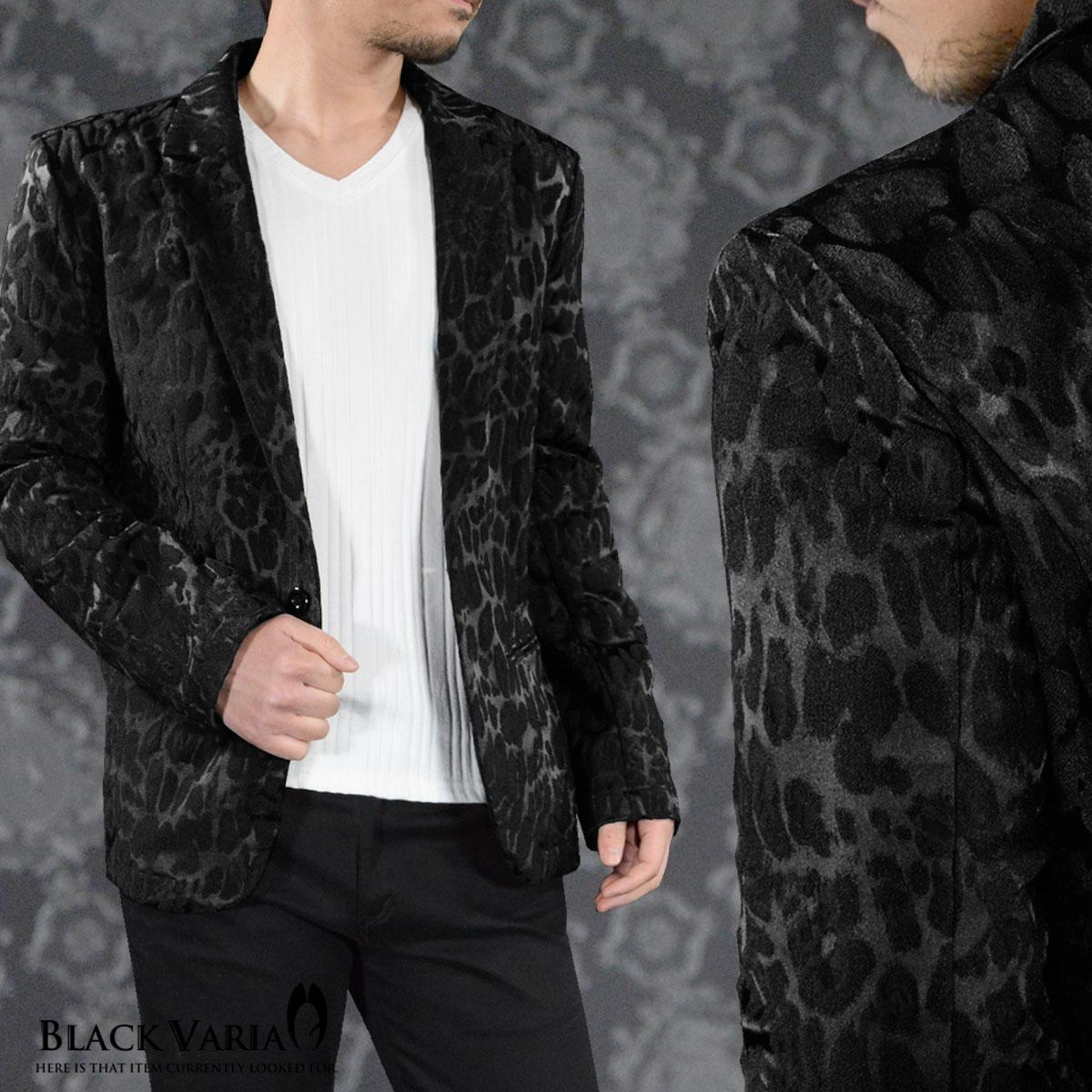 テーラードジャケット レオパード柄 豹 ジャガード メンズ 1釦 日本製 ジャケット mens(ブラック黒) 172752