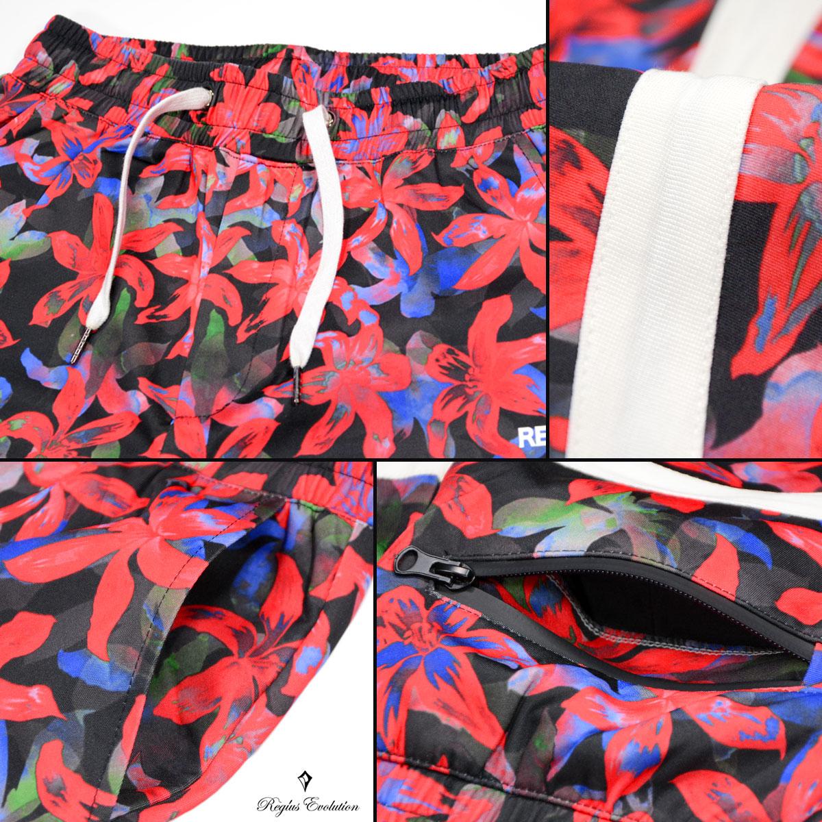 レジエボ ショートパンツ 花柄 メンズ ボタニカル 膝上 ショート丈 ジャージ パンツ mens レッド赤ブラック黒851109bYE2eWDHI