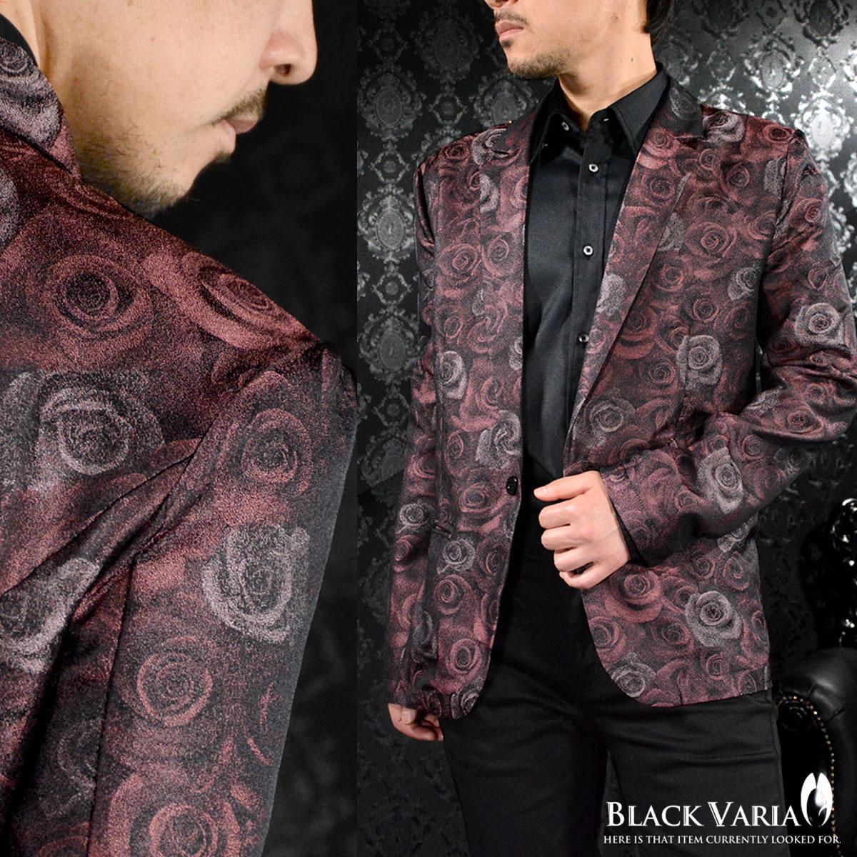 テーラードジャケット 花柄 薔薇柄 メンズ 光沢 日本製 ステージ 衣装 ジャケット mens(ワイン赤レッド) 181201
