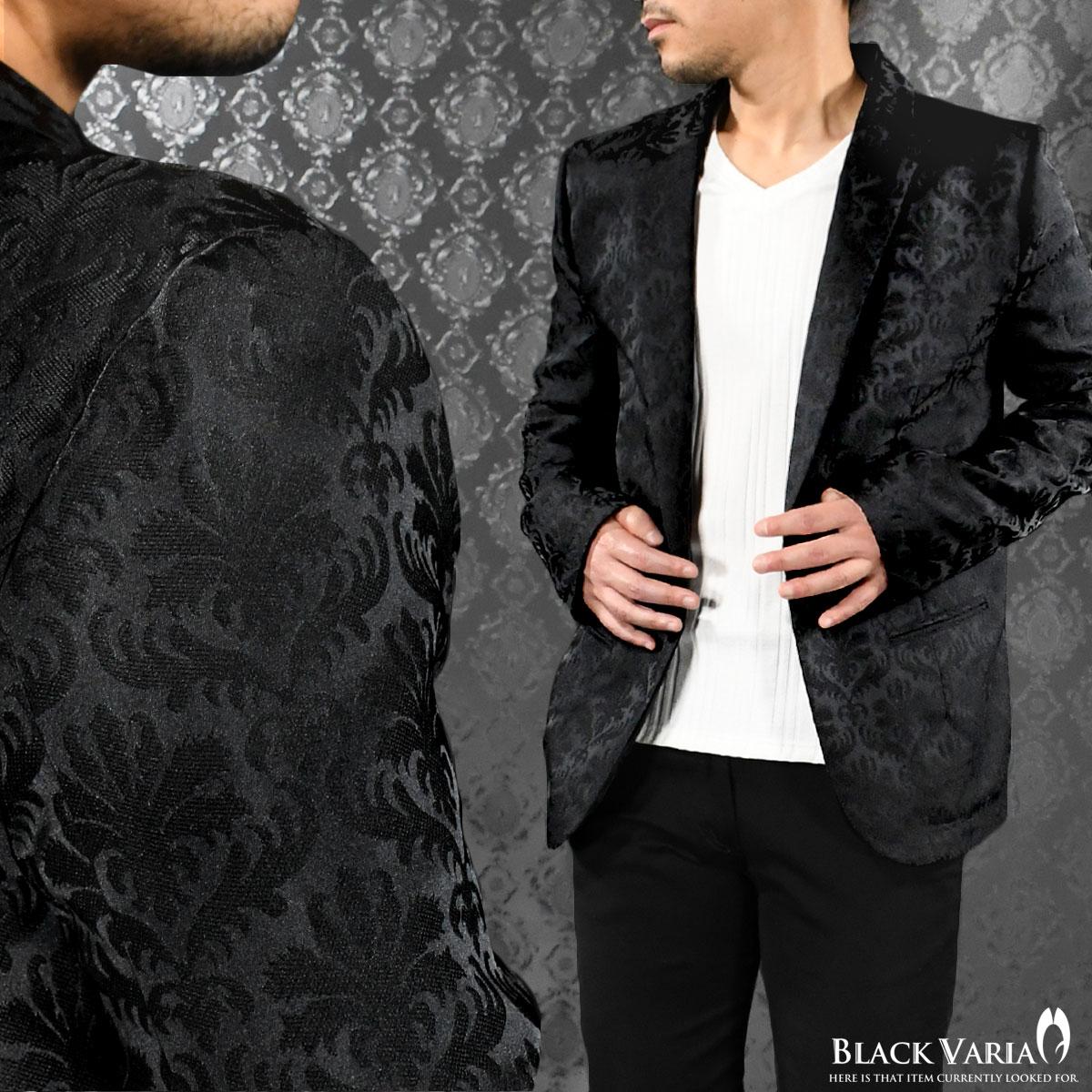 ジャケット テーラード アラベスク柄 メンズ 日本製 1釦 ジャガード カットジャケット mens(ブラック黒) 181202