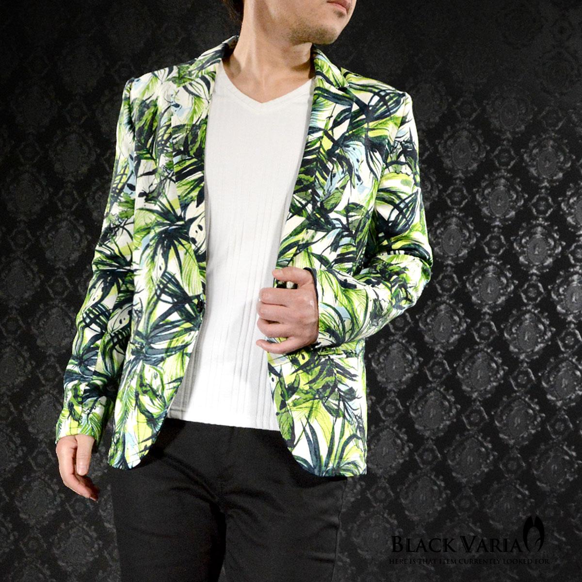 ジャケット テーラード ボタニカル 葉 ヤシ リーフ柄 メンズ 1釦 ジャケット mens(グリーン緑ホワイト白) 181203