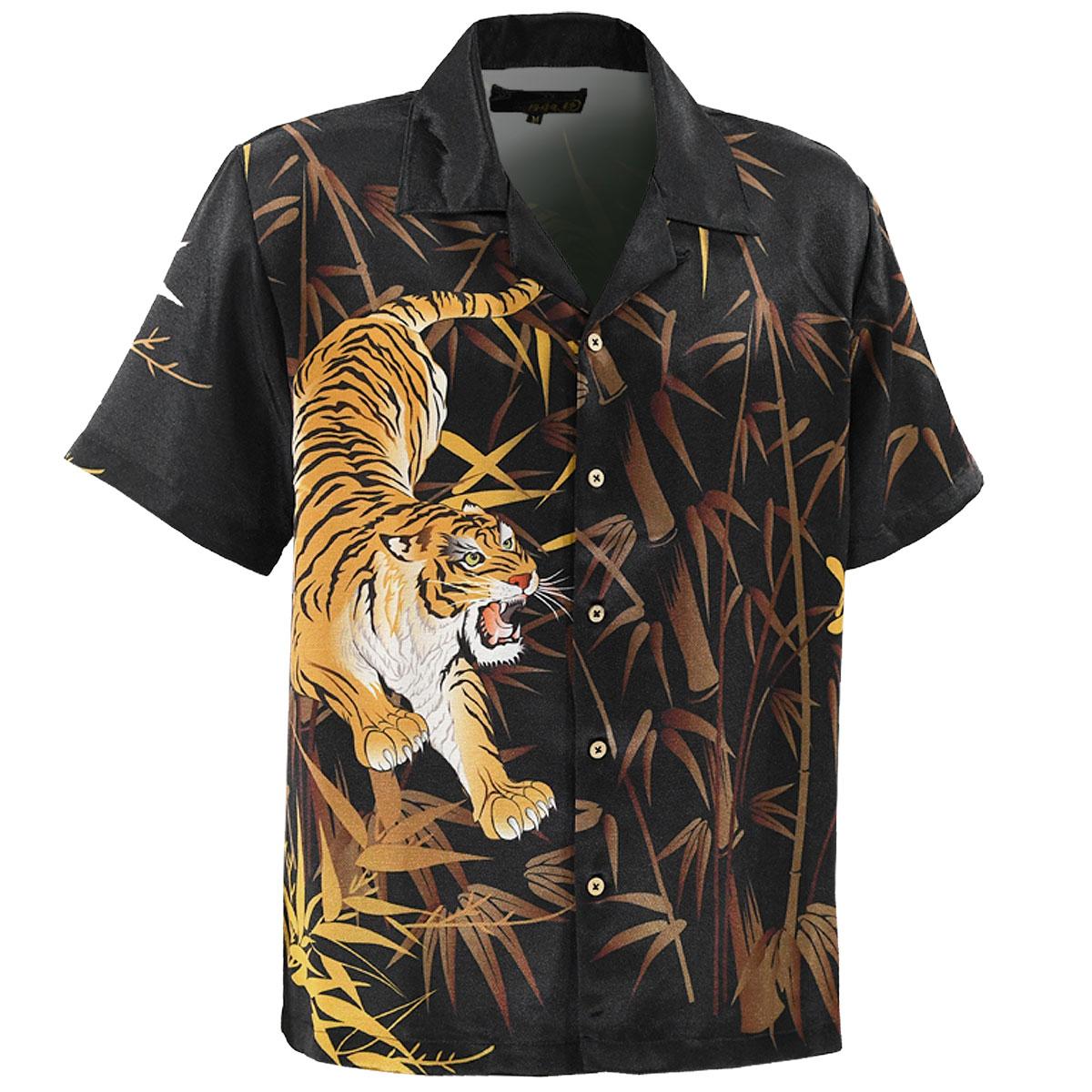 からくり魂 絡繰魂 粋 アロハシャツ 和柄 虎 メンズ 竹 プリント 半袖 開襟シャツ mens(ブラック黒) 282805