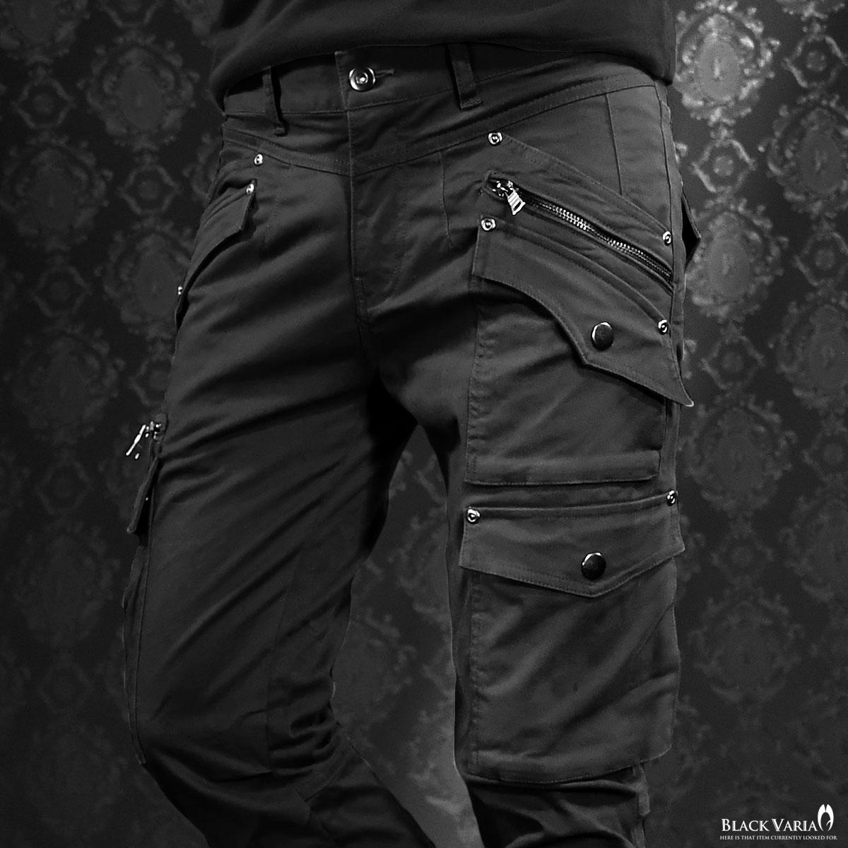カーゴパンツ ストレッチ ポケット メンズ ファスナー ブッシュパンツ 無地 ボトムス mens(ブラック黒) 482201
