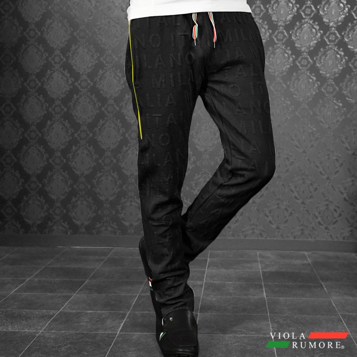 VIOLA rumore ヴィオラ ビオラ スウェットパンツ ニット ジャガード ロゴ 無地 英字 ロングパンツ メンズ(ブラック黒) 91136