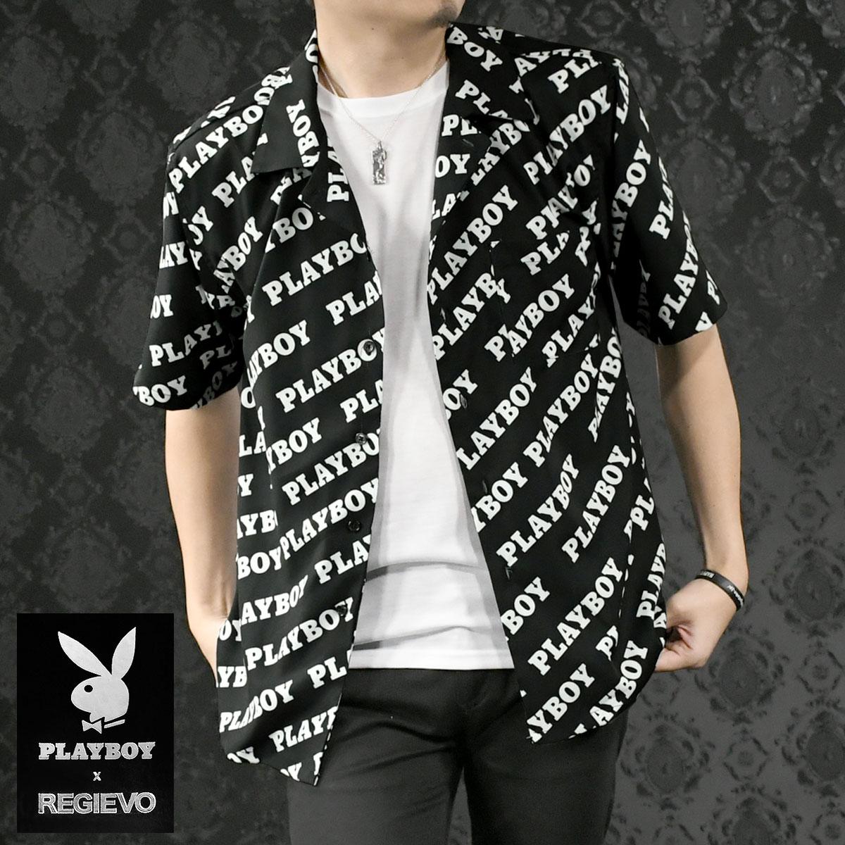 PLAYBOY プレイボーイ レジエボ 開襟シャツ メンズ 半袖 ロゴ プリント オープンシャツ mens(ブラック黒) 95147