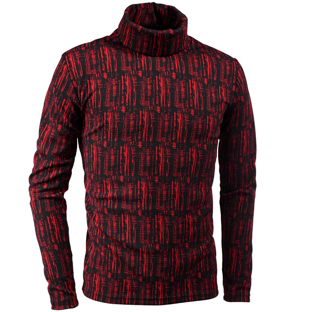 タートルネックシャツ ストライプ ムラ柄 メンズ 膨れジャガード 長袖 ストレッチ 日本製 mens(レッド赤ブラック黒) 193219:BLACK VARIA/ブラックバリア