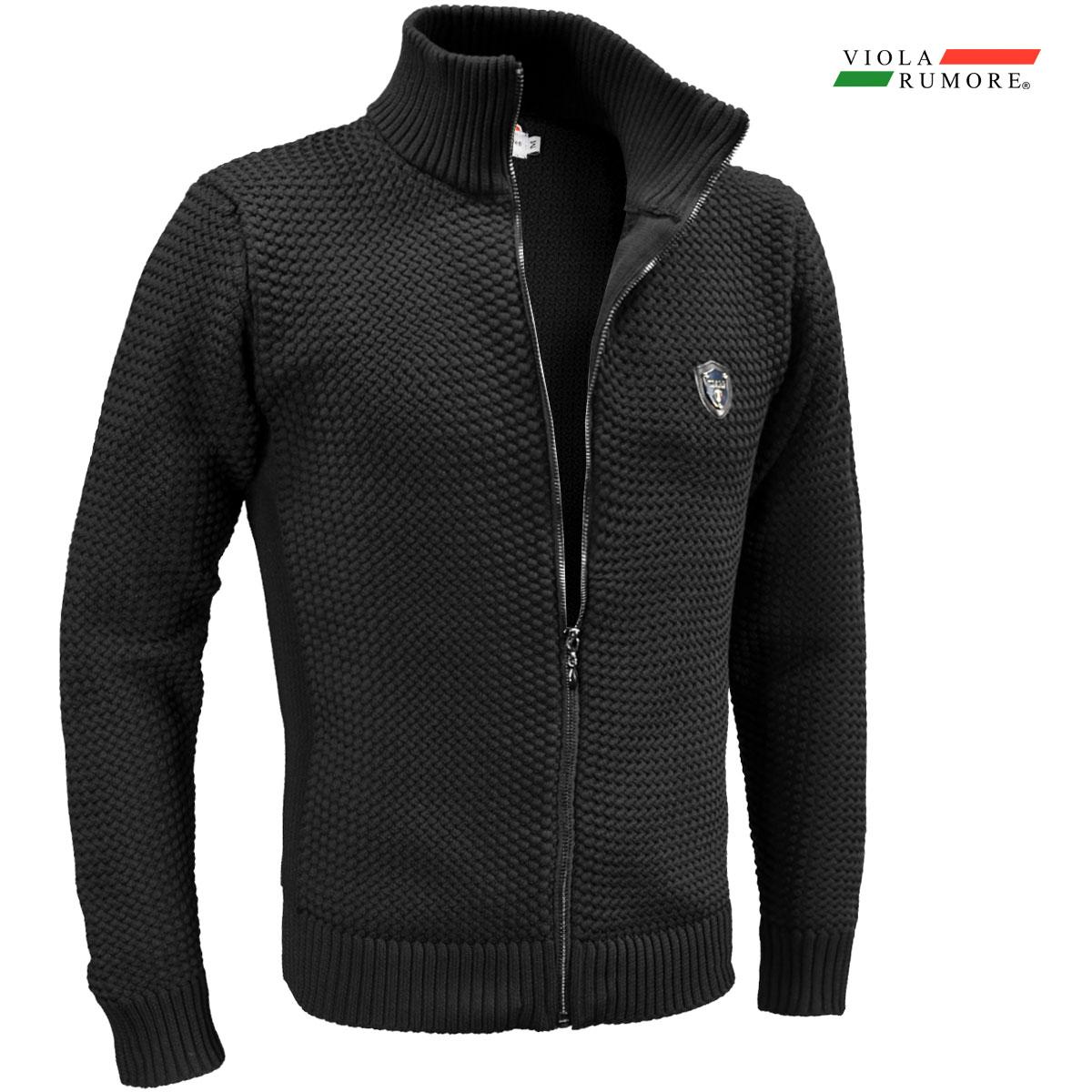 VIOLA rumore ヴィオラ ビオラ ニット フルジップアップ メンズ バスケット編み ニットジャケット 5ゲージ mens(ブラック黒) 01136