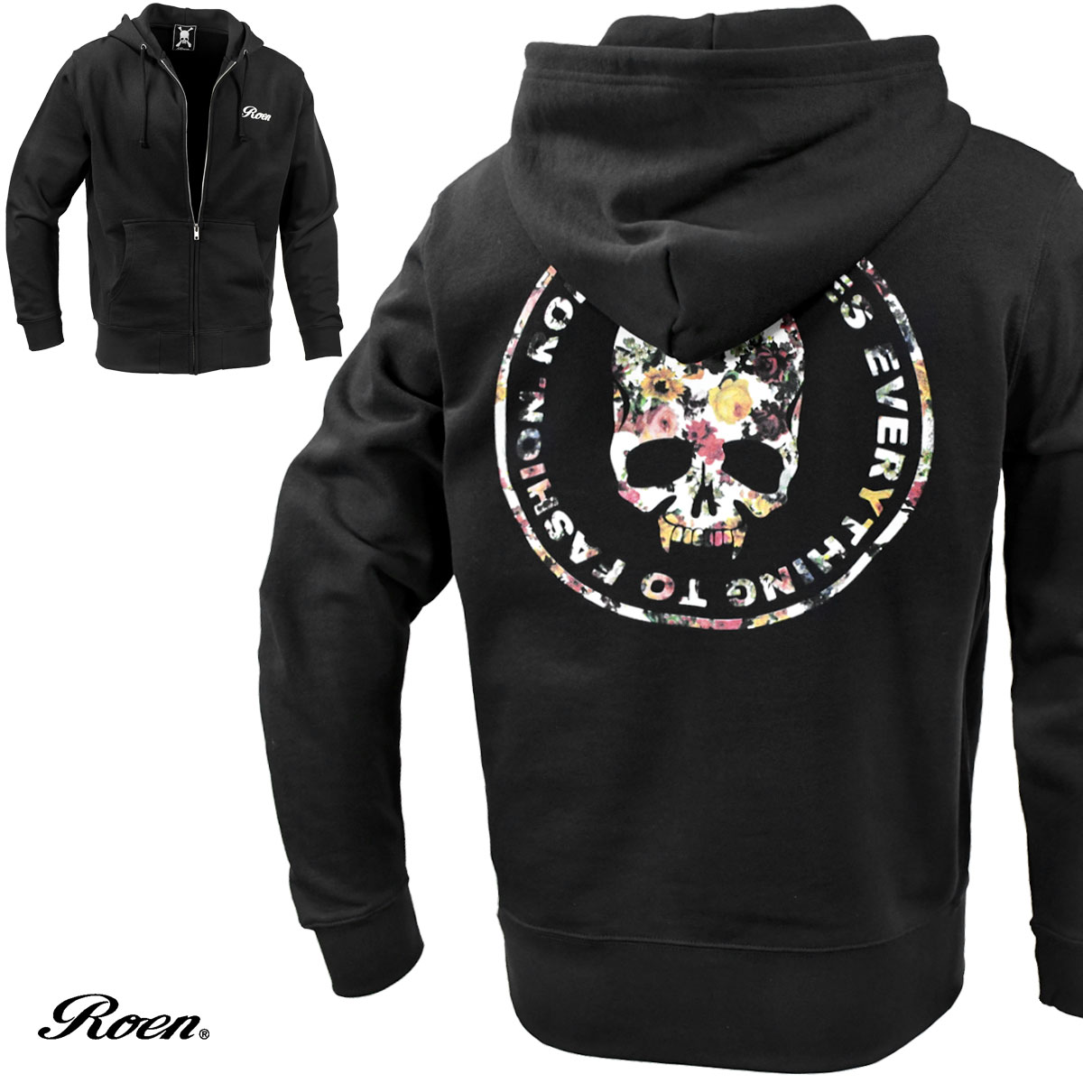 Roen ロエン ジップアップパーカー スカル 花柄 メンズ 長袖 ライトアウター(ブラック黒) 52047006
