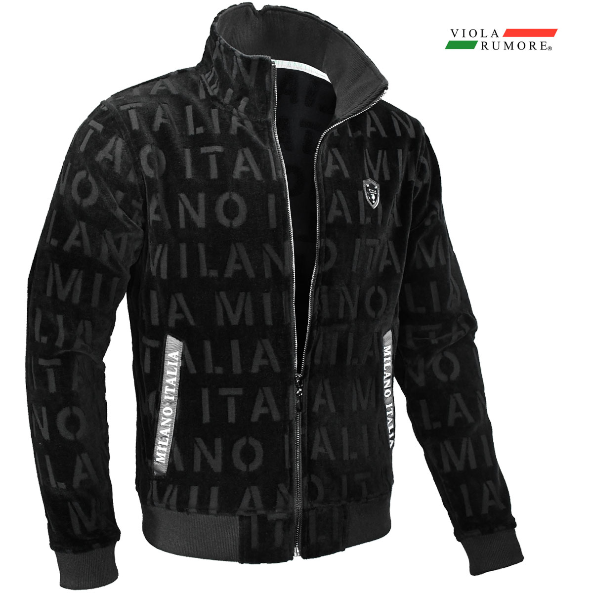VIOLA rumore ヴィオラ ビオラ パイル フルジップアップ メンズ ロゴ柄 ジャガード ニットジャケット mens(ブラック黒) 01301