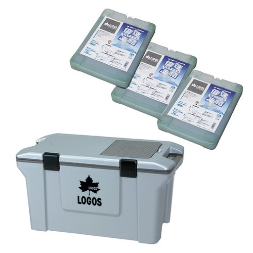 (LOGOS)ロゴス アクションクーラー50(グレー)+倍速凍結・氷点下パックXL×3お買い得4点セット