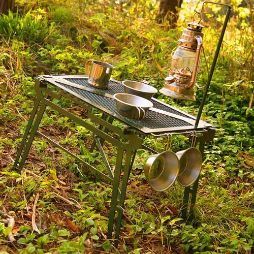ネイチャートーンズ Zテーブル モスグリーン (Nature-tones) | サイドテーブル ローテーブル アウトドアラック 折りたたみ キャンプ アウトドア ピクニック バーベキュー BBQ おしゃれ