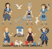 1900's Bathing Costumes クロスステッチ 図案 チャート ペレット Samouiloff 中古 サモイロフ 刺繍 Perrette 手芸 売り出し