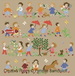 Happy Childhood - Spring クロスステッチ 図案 チャート Samouiloff Perrette 売却 手芸 ペレット 刺繍 開店記念セール サモイロフ